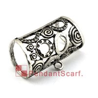 Wholesale metal charm scarf - New Style DIY Necklace Pendant Scarf Jewelry Accessories Metal Flower Charm Scarf Pendant Slide Bails Tube, Free Shipping, AC0354