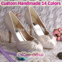 Wholesale Purple Satin Heels Wedding - Wholesale-(15 Colors)Custom Handmade Pump Elegant High Heeled Bridal Shoes Woman Wedding Ivory Satin