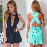 Wholesale Backless Halter Bodysuit - rompers womens jumpsuit Bandage chiffon v-neck backless bodysuit shorts women vestidos macacao short feminino