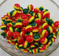 Wholesale Wholesale Zebra Stripe Beads - DIY 8mm-14mm charm Jamaica 3 colors red yellow green resin zebra stripe spacer loose beads jewelry making 1000pcs lot B-R001