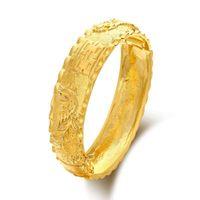 Wholesale dragon phoenix wedding - MGFam (86BA) Dragon and Phoenix Bangles Bracelets for Bridal Wedding Jewelry 24k Gold Plated Traditioal Style