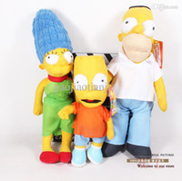 Wholesale Homer Simpson Plush Toy - Wholesale-3pcs lot Free Shipping Anime Cartoon The Simpsons Homer Marge Bart Simpson Plush Toys Soft Stuffed Dolls ANPT158