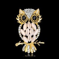 Full Diamond Crystal Owl Broches Women Fashion Aniaml Pins Accesorios Ramillete de la boda Marca Bufanda Clips Joyería Al Por Mayor Envío Gratuito