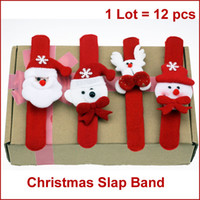 Wholesale Stuffed Bear Ornaments - Wholesale-F12 Christmas Slap Band, Snap Straps, Wrist Band Bracelet w  Stuffed Santa, Snowman, Reindeer, Bear, Christmas Gifts 12pcs lot