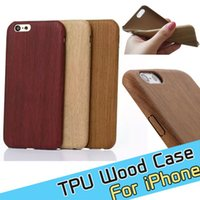 Wholesale 5c Cover Wood - For iphone 7 iphone 7 plus Wood Wooden pattern soft leather TPU phone back case cover for iphone 5 5c 5s 6 6s