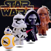 Wholesale DHL Free Star Wars Toys Keychains The Force Awakens BB Droid Robot Kelo Chewbacca Pendant Action Figure PVC Keychains Key Ring