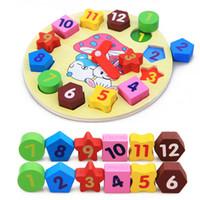 holzuhr für kinder großhandel-Baby Kinder Kinder Bildung Holz Puzzle Spielzeug Holz Digitaluhr Puzzle Spielzeug Geometrie Stapeln Spielzeug Großhandel
