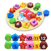 puzzles do brinquedo da educação venda por atacado-Bebê Crianças Educação Infantil De Madeira Puzzle Brinquedos De Madeira Digital Jigsaw Clock Toy Geometria Empilhamento Brinquedos Atacado