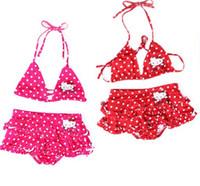 Wholesale Kids Bikini Outfits - Girls Swiming Wear Hello Kitty Swimsuits Baby Girls Bikini Swimsuit Two Piece Outfit Kids Childrens Swimwear One Suite And 2 Piece