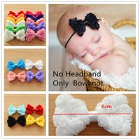 Wholesale Rosette Chiffon Hair Bow - 56pcs Rosette Bow triplex Row Chiffon Rose classic flower bowknot solid hair bows newborn baby hair bows accessory