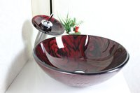 Wholesale Basin Set Glass Sink - Color hand-painted circular basin Tempered Glass Vessel Sink With Faucet Set 4014