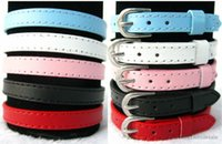Wholesale 10pcs mm Genuine Leather Buckle Wristband DIY Name Bracelet Can through mm slide Letter charms DIY Accessories WB005