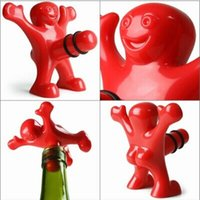 Wholesale Gag Stopper - Funny Man Bottle Stopper Novelty Wine Corkscrew a Gag Gift for Wine Lover and Beer Lover Red A038