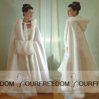 Wholesale White Cape Fur Trim - 2015 New White Winter Wedding Cloaks Wrap Hooded Satin Bridal Cape With Fur Trim High Quality Jacket Coat For Bridal