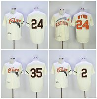 Maillot De Baseball Colt Pas Cher-Houston Colts Throwback Baseball Maillot Retro 35 Joe Morgan 2 Nellie Fox 24 Jimmy Wynn Crème Vintage 1964 Turnback cousu Maillot MLB
