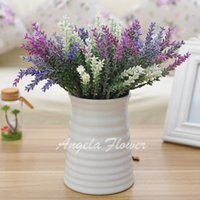 Wholesale lavender artificial flower - Hot Sale romantic 5 heads artificial silk lavender decorative flower for wedding party hotel home decoration 3 colors mix better