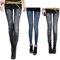 Wholesale Punk Leggins - 2015 Fashion Sexy Women Leggings Hollow Out Holes Imitation Jeans Elastic Slim Punk Faux Denim Leggins Stretch Skinny Pencil Pants 7931