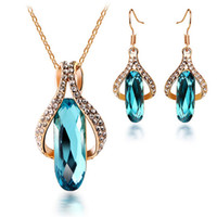 Wholesale cheap necklace for lovers online - Luxury Necklace Earring Set Crystal Long Drop Earrings Fashion Jewelry Sets Cheap Wedding Jewelry for Brides On Sale