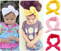 Wholesale Toddler Ribbon Headbands - 30% off 15 Colors Baby Toddler Sweet Girl Kids Bow Hairband Turban Knot Rabbit Headband Headwear20pcs