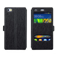 ingrosso iphone 5s vista copertura flip-Per iPhone X Case Dual Double View Window con supporto Stand Flip Cover in pelle per iphone 8 8 Plus 7 7 Plus 6 6 Plus 5 5S SE
