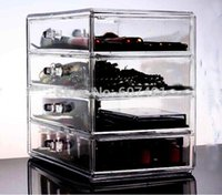 Wholesale Clear Makeup Drawers - Wholesale-Heavy-duty Clear Acrylic Cosmetic & Makeup Organizer with 4 Drawers & Flip Top for jewelry,cosmetic etc