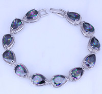 Wholesale Mystic Topaz Sets - Noble Mystic Topaz Water Drop Style Silver Bracelets for Women Chain Length 21 CM Free Gift Bag B0048