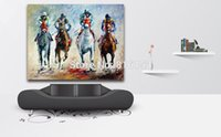 Wholesale pictures office walls - Palette Knife Oil Painting Fierce Horse Racing Picture Printed on Canvas Mural Art for Home Living Hotel Office Wall Decoration