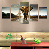 Wholesale Giant Animals Pictures - 5 Panels Giant Elephant Painting Oil Canvas Print Unframed Wall Art Picture Home Living Room Wall Decor Modern Canvas Artwork