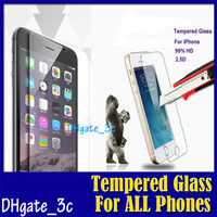 Wholesale Iphone 5s Mm - HD LCD Clear Tempered Glass Screen Protector 2.5D 0.3 mm 9H Arc Edge Explosion-proof Film For iPhone 6 6S plus I6 5S Galaxy NOTE 5 4 S6 EDGE