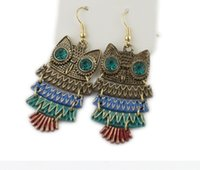 Wholesale Candy Earring Colorful - Vintage Candy Colorful Owl Earring Dangle & Chandelier Earrings Women Retro Bronze Animal Earring Cheap Fashion Jewery