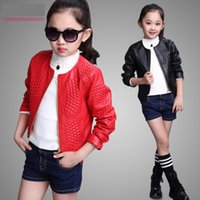 большие куртки оптовых-Wholesale-2015 Autumn Fashion Leather Jacket For Girls O-Neck Zipper Big Girl Coats 120-160cm Children's Leather Jackets For 6-14 Year