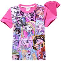 Wholesale Wholesale Cartoon Tshirts - 2015 New summer Fashion hot Tshirt Monster high Girl Clothing cartoon Tshirts Tops Child Short sleeve T shirts C001