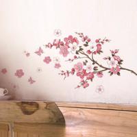 mural sakura оптовых-сакура цветок стены стикеры украшения дома гостиная наклейки ПВХ росписи искусства DIY спальня ТВ фон свадебный подарок
