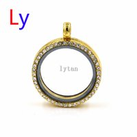 Wholesale Clear Glass Lockets Wholesale - Gold Metal Alloy & Glass Locket w  Clear Crystals for Floating Charms necklace with 70mm ball chain free LFP0158