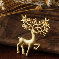 Wholesale Reindeer Brooch - 12pcs lot Christmas Theme Decoration Alloy Gold Reindeer Brooches Santa Deer Corsage Pins Festival New Year Gifts Favor HX526