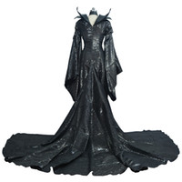 Wholesale Movies Angelina Jolie - Maleficent Black Cosplay Costume Angelina Jolie Withch Princess Dress Full Fancy Dress Costume Custom Made For Halloween Party Drop shipping