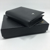 Wholesale Case Compartments - Famous Designer Classic Black Genuine Leather Card ID Holder Men Credit Card Case Leather Business Bifold Card Holder Purse Bag with Box