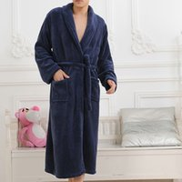 Wholesale Xl Bathrobe - Free Shipping Pajamas Men Long Sleeves Winter Bath Robes Flannel Bathrobe Thick Warm Casual Nightgown Sleepwear JB0002 smileseller