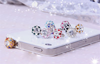 Wholesale Plug For Phone Crown - 10pcs   lot, Bird's Nest dust plug mobile phone rhinestone crown dazzling sparkle for iPhone 4 5 6 samsung s4 s5 Free shipping