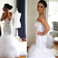 Wholesale Sweetheart Tulle Ruffles Wedding Gown - 2017 Fashion Mermaid Wedding Dresses Sexy Sweetheart Backless Formal Bridal Gowns Spring Lace Appliques Court Train Brides Dress Elegant