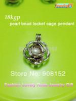 Wholesale 18kgp Bracelets - 18kgp Rose Pearl  Crystal  Gem stone Beads Locket Cage Pendant Mounting for Bracelet Necklace DIY Charm Jewelry