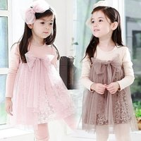 Wholesale dressy style clothing resale online - Pretty Girls Dress Autumn Cotton D Flower Lace Tulle Splicing Big Bow Dressy Dresses Girl Kids Children Clothes Pink coffee