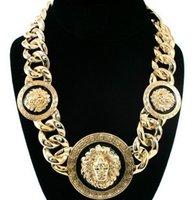 Wholesale Rihanna Lion Jewelry - Free Shipping Women Gold Black Three Lion Head Chunky Chain Statement Necklace Designer Rihanna Celebrity Jewelry Factory Price #1334