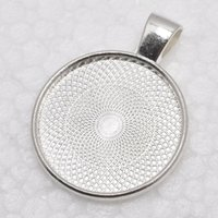 Wholesale silver bezel blanks - 1 inch Round Shiny Silver Plated Pendant Trays, Blank Pendant Bases, 25mm Bezel Pendant Settings for Glass or Stickers