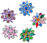 Wholesale Metal Snap Press - metal ginger press snap buttons, colourful flower 18mm rhinestone snap buttons for DIY jewelry snap button jewellery bracelets 30PCS FF