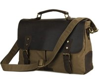 Wholesale Laptop Hand Bag Briefcase Messenger - Wholesale-Vintage Crazy Horse+Canvas bag men messenger bags men's travel bag Hand Bag men's briefcase business leisure laptop