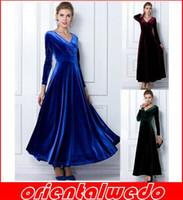 Wholesale Vintage Velvet Scarf - New Velvet Warm Plus size Winter Ankle-Length Dress Women Blue Wine Red Green Black Slim Vintage Maxi Casua+scarves 1PCS!free shipping