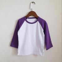 Wholesale Plain Shirts Kids - Cotton blends plain style purple o-neck kids t-shirt long sleeve shirt raglan sleeve shirt for girls