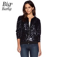 All'ingrosso-Shining Sequined Paillette Women Giacche Manica Lunga 2015 Autunno Outwear Coats Giacca Top Sequin Giacche Vogue Nero M15092203
