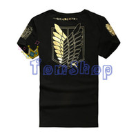 Atacado-Anime Attack on Titan Scouting Legion Gold Print T-shirt Shingeki no Kyojin Cosplay Costume Recon Corps Algodão T-Shirts Tops